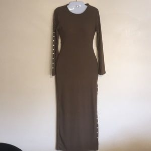 New women's long sweater dress with slit on left